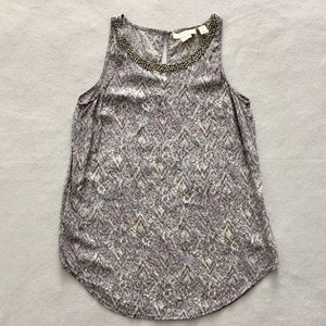 Cynthia Rowley Silk Lavender Gray Beaded Tank XS